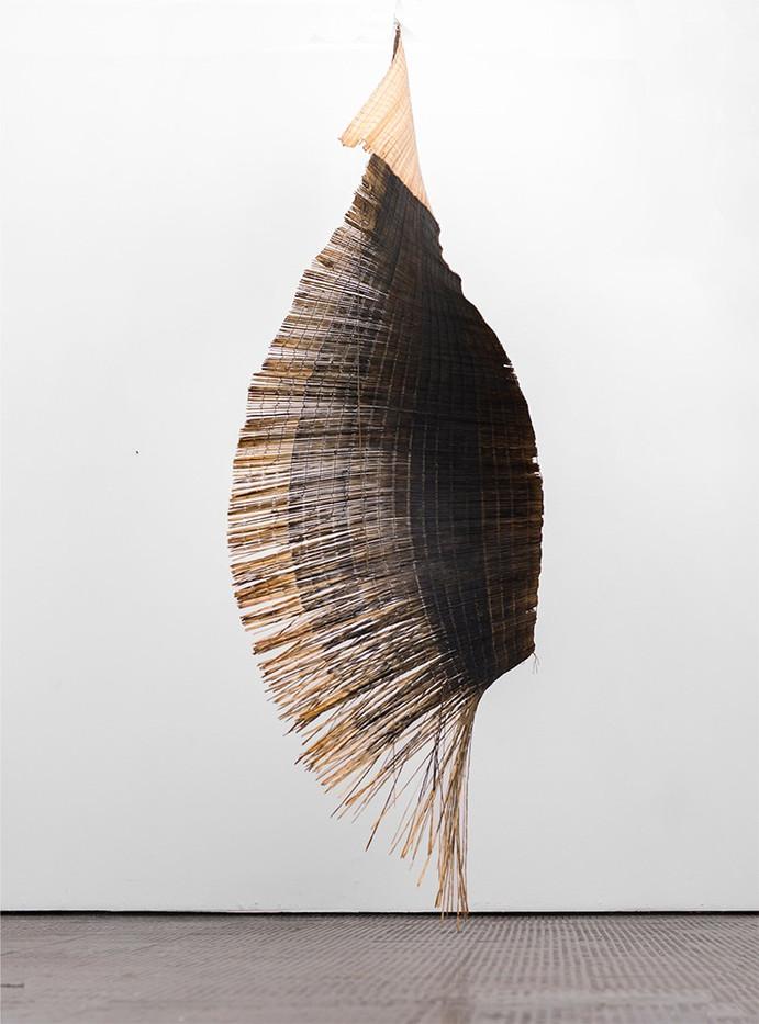 Simphiwe Buthelezi | The reading | 2019 | Acrylic and Resin on Straw Mat | 210 x 97 cm