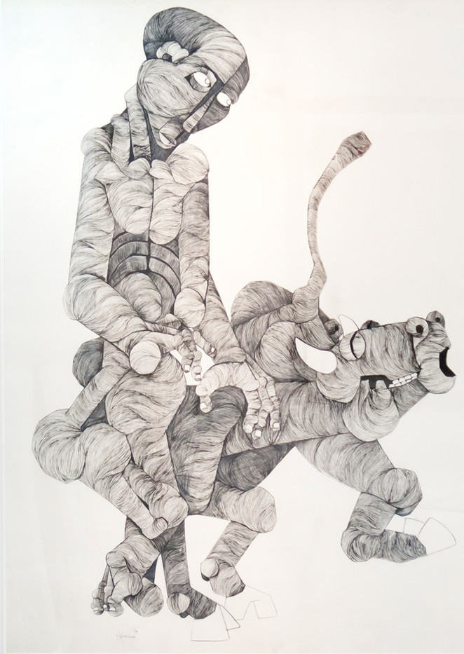 Nathaniel Mokgosi | Animism | 1975 | Ink and Pen on Paper | 80 x 110 cm