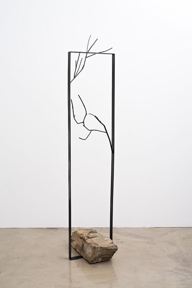 Ruan Coleman | Wait I | 2017 | Steel, Rock | 192 x 52 x 50 cm