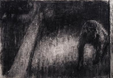 Johann Louw | Bobbejaan met Ligkol | 2017 | Charcoal on Hahnemühle | 125 x 176 cm