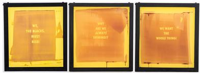 Katlego Tlabela | Untitled I, II & III | Triptych | 2017 | Enamel, Emulsion, Steel and Screen | 60.5 x 56 cm Each