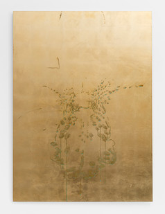 Pierre Vermeulen | Orchid Study in Sweat nr. 4 | 2017 | Gold Leaf Imitate on Aluminium, Sweat | 150 x 109.5 cm