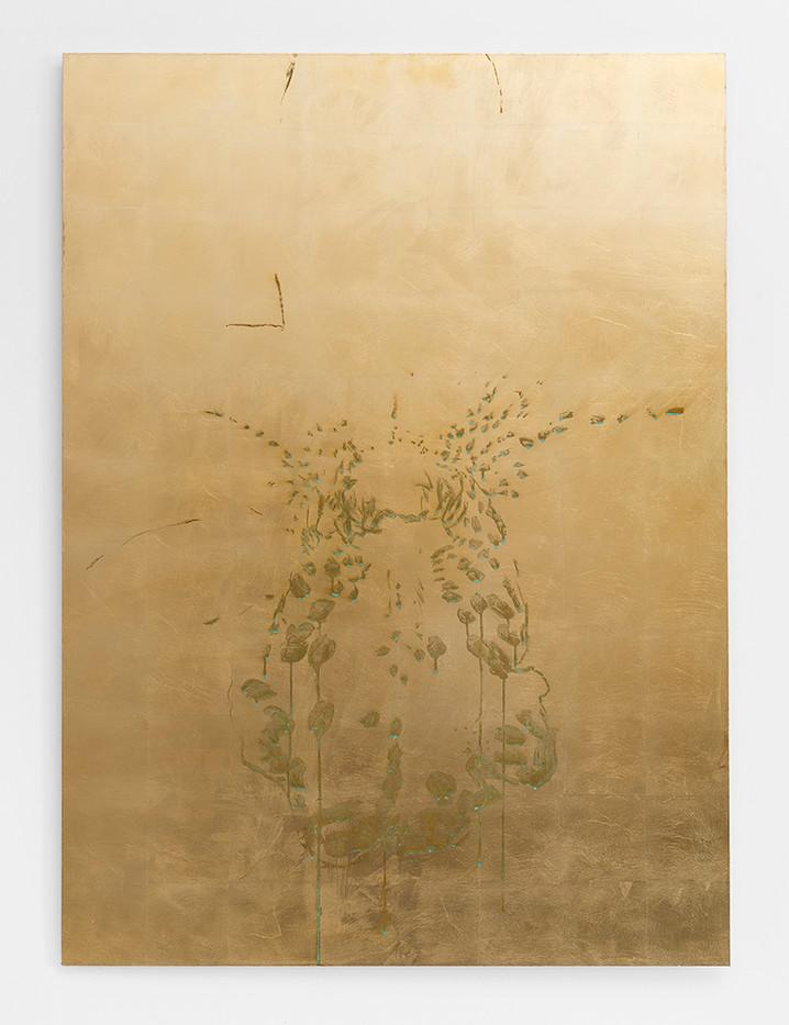 Pierre Vermeulen | Orchid Study in Sweat nr. 4 | 2017 | Gold Leaf Imitate on Aluminium, Sweat | 150 x 109.5 cm