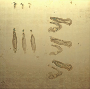 Pierre Vermeulen   30 seconds Sweat Prints in Square, nr. 3   2017   Gold Leaf Imitate on Aluminium, Sweat   190 x 190 cm