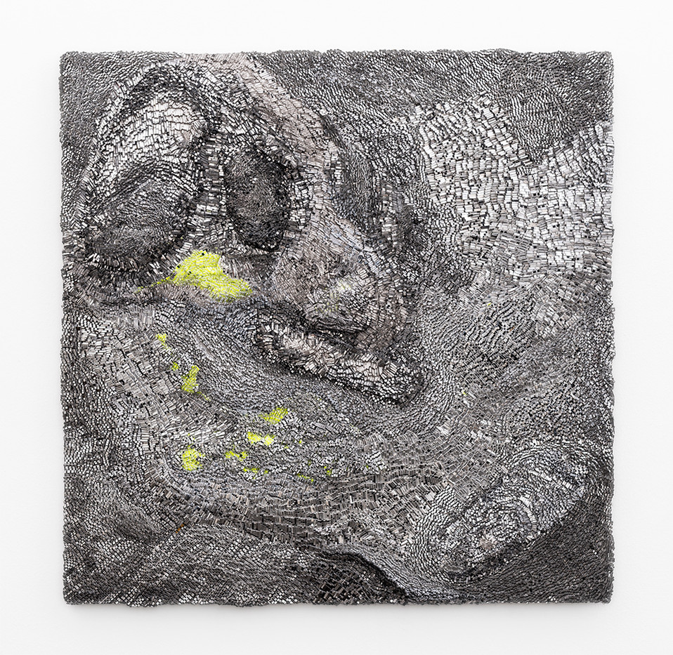 Galia Gluckman | (inter)leading 2 | 2019 | Construction with Canvas Textured Paper, Acrylic, Balsa Wood and Bonding Tape on Board | 51 x 51 cm