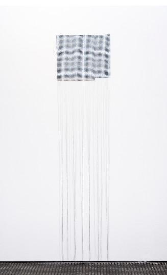 """Bonolo Kavula   """"Olerato""""   2021   Punched Shweshwe, Thread   195 x 45 cm"""