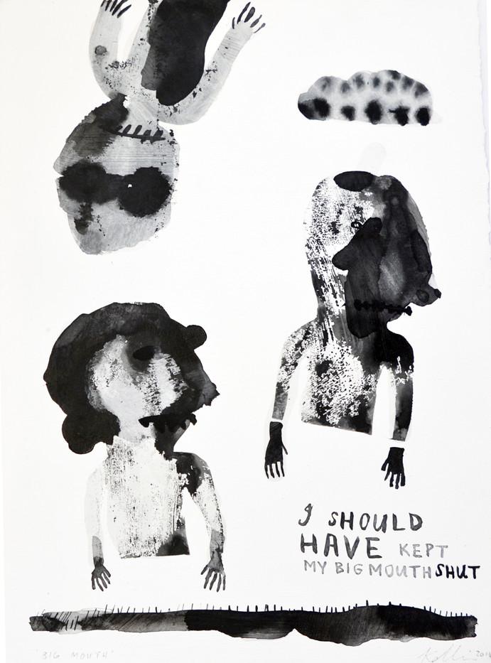 Karlien De Villiers | Big Mouth | 2014 | Gesso, Ink and Watercolour on Paper | 36 x 25.5 cm
