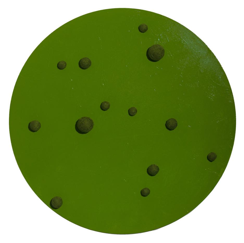 Barend De Wet   pre green   2010   Enamel Paint and 100% Acrylic Wool on Canvas   120 x 120 cm