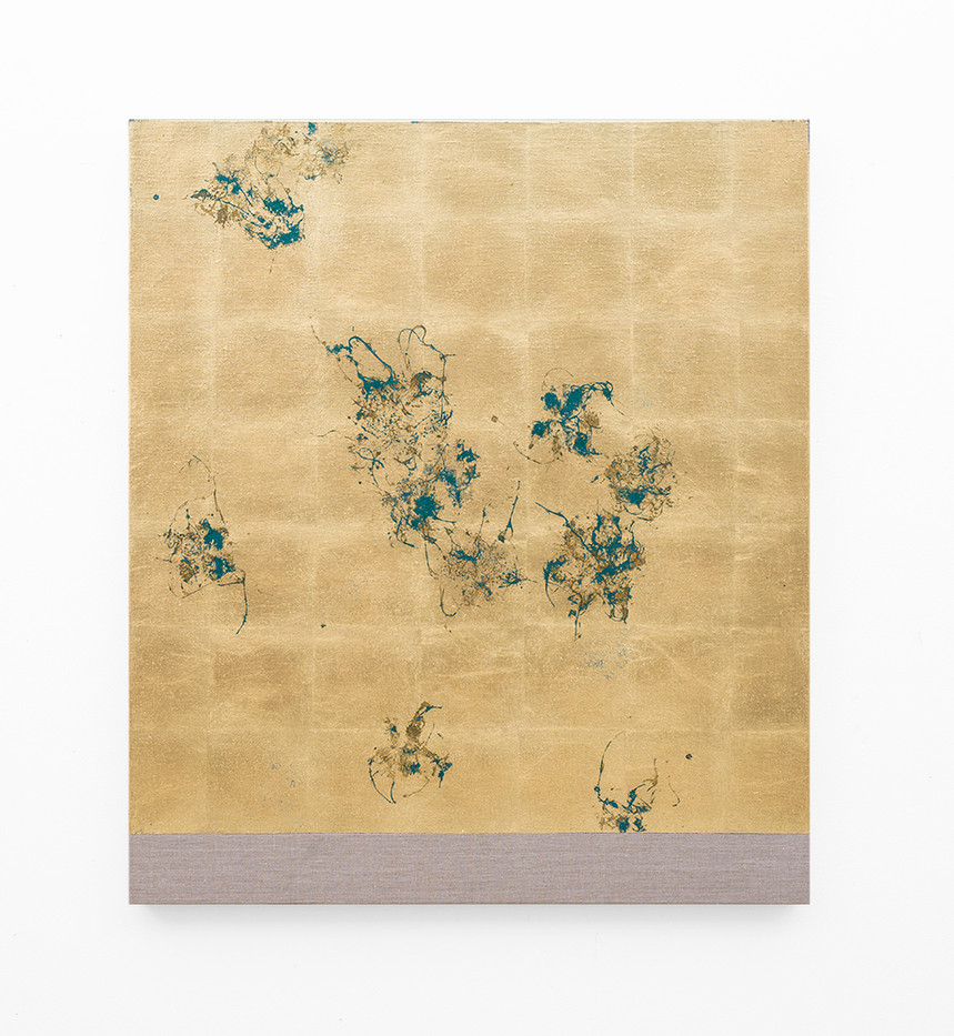 Pierre Vermeulen   Hair orchid sweat print, oxide green layer   2018   Sweat, Gold Leaf Imitate, Shellac and Acrylic on Belgian Linen   105.5 x 90 cm