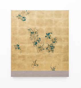 Pierre Vermeulen | Hair orchid sweat print, oxide green layer | 2018 | Sweat, Gold Leaf Imitate, Shellac and Acrylic on Belgian Linen | 105.5 x 90 cm