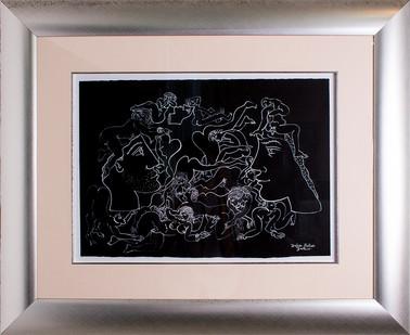Walter Battiss | Broken Statues | n.d. | White Brush on Paper | 34 x 49 cm