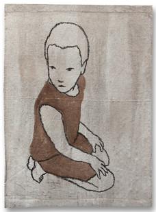 Valerio Berruti | Udaka 3 | 2012 | Fresco, Oil Pastel and Red Soil on Jute | 110 x 80 cm