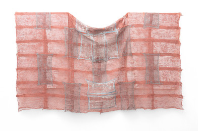 Pyda Nyariri   Residual Trace 784 / Red, Brown and Blue   2021   Clay Slip, Cotton Gauze on Canvas   110 x 193 cm