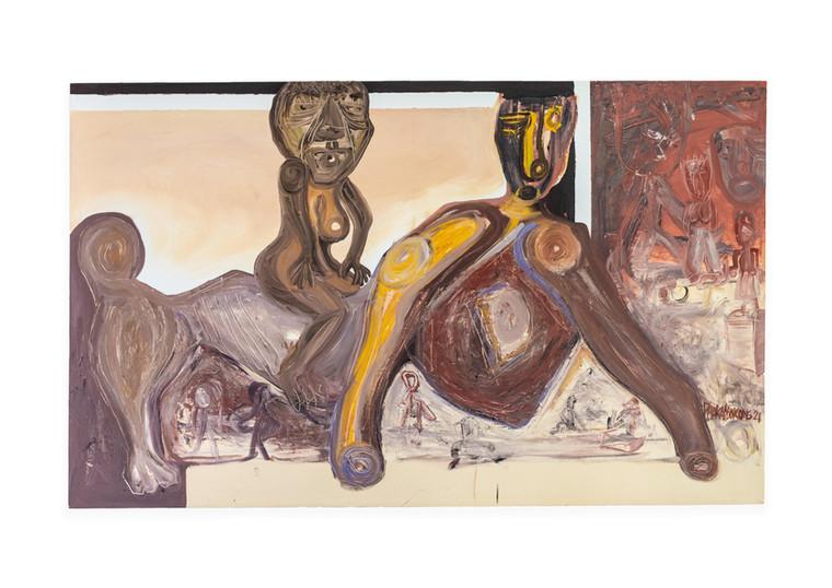 Phoka Nyokong   The Supreme Deity Osan-Oduwa Mounting the Back of the Anthropomorphic Oba   2021   Oil on Canvas   90 x 150 cm
