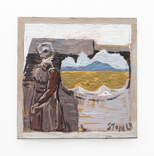 Simon Stone | Figure + Landscape | 2019 | Encaustic on Cardboard | 17.5 x 17.5 cm