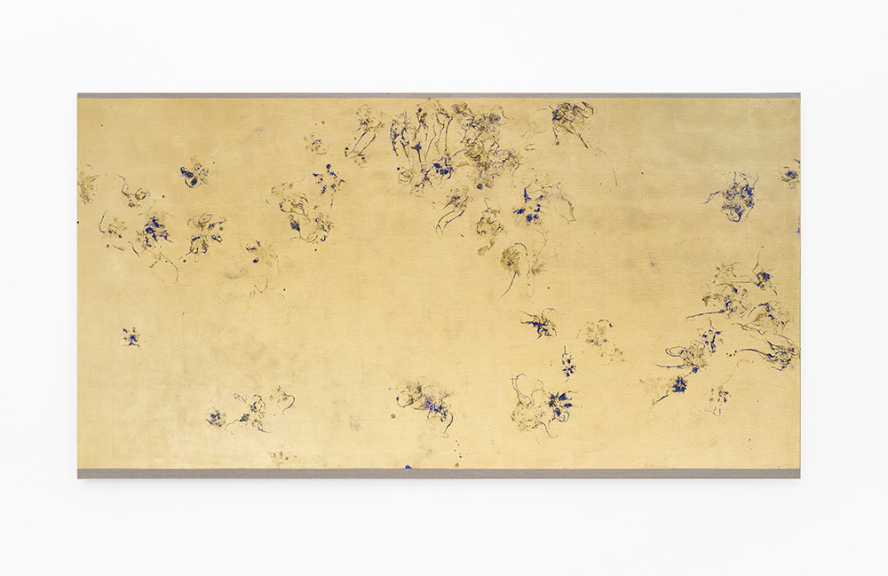 Pierre Vermeulen | Hair orchid sweat print in space, blue layer | 2018 | Sweat, Gold Leaf Imitate, Shellac and Acrylic on Belgian Linen | 150 x 201 cm