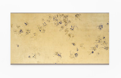 Pierre Vermeulen   Hair orchid sweat print in space, blue layer   2018   Sweat, Gold Leaf Imitate, Shellac and Acrylic on Belgian Linen   150 x 201 cm