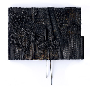 Galia Gluckman | discord | 2019 | Construction with Canvas Textured Paper, Acrylic and Bonding Tape on Board | 21.5 x 31 cm