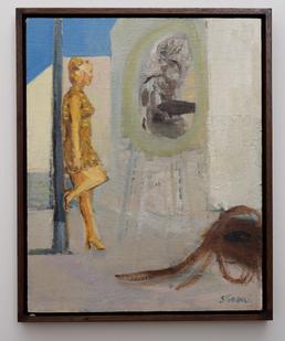 Simon Stone   Woman Against Lamppost   2016   Oil on Cardboard   40 x 31 cm