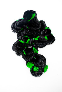 Frances Goodman | Green with Envy | 2014 | Acrylic Nails, Glue, Resin and Shoulder Pads | 65 x 56 cm