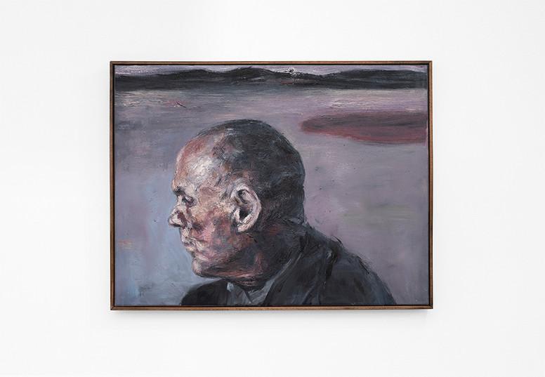 Johann Louw   Portret van man met verre landskap   2021   Oil on Canvas   54 x 71 cm