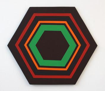 Trevor Coleman | Hexagonal | 1976 | Acrylic on Shaped Canvas | 76 x 88 cm