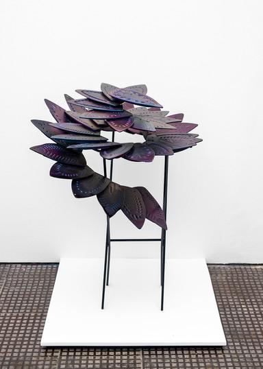 Usha Seejarim   Progressive Flower   2021   Reclaimed Ironing Bases, Paint and Steel   100 x 80 x 80 cm