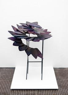 Usha Seejarim | Progressive Flower | 2021 | Reclaimed Ironing Bases, Paint and Steel | 100 x 80 x 80 cm
