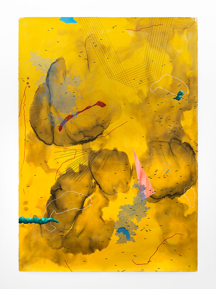 Mongezi Ncaphayi | Mountains of gold | 2019 | Indian Ink and Watercolour on Cotton Paper | 198.5 x 139.5 cm