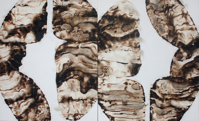 Sandile Zulu | Artoms Archetype Forms Case 1 | 2012 | Fire, Water, Air and Earth on Canvas | 135 x 220 cm