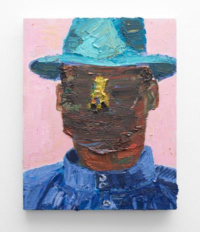 Georgina Gratrix   Artist in Hat   2016   Oil on Board   60 x 50 cm