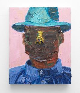 Georgina Gratrix | Artist in Hat | 2016 | Oil on Board | 60 x 50 cm