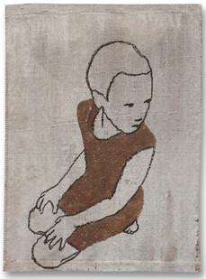 Valerio Berruti | Udaka 4 | 2012 | Fresco, Oil Pastel and Red Soil on Jute | 110 x 80 cm