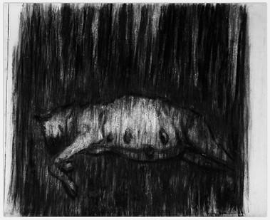 Johann Louw | Dragtige Hond | 2014 | Charcoal on Paper | 125 x 152 cm