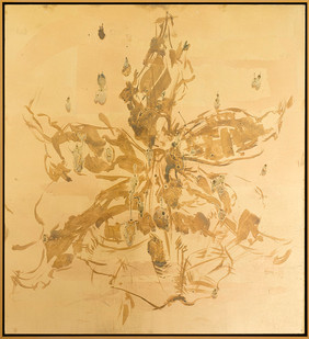Pierre Vermeulen | Untitled (Orchid in Study Sweat) | 2017 | Sweat and Gold Leaf Imitate on Aluminium | 60 x 55.5 cm