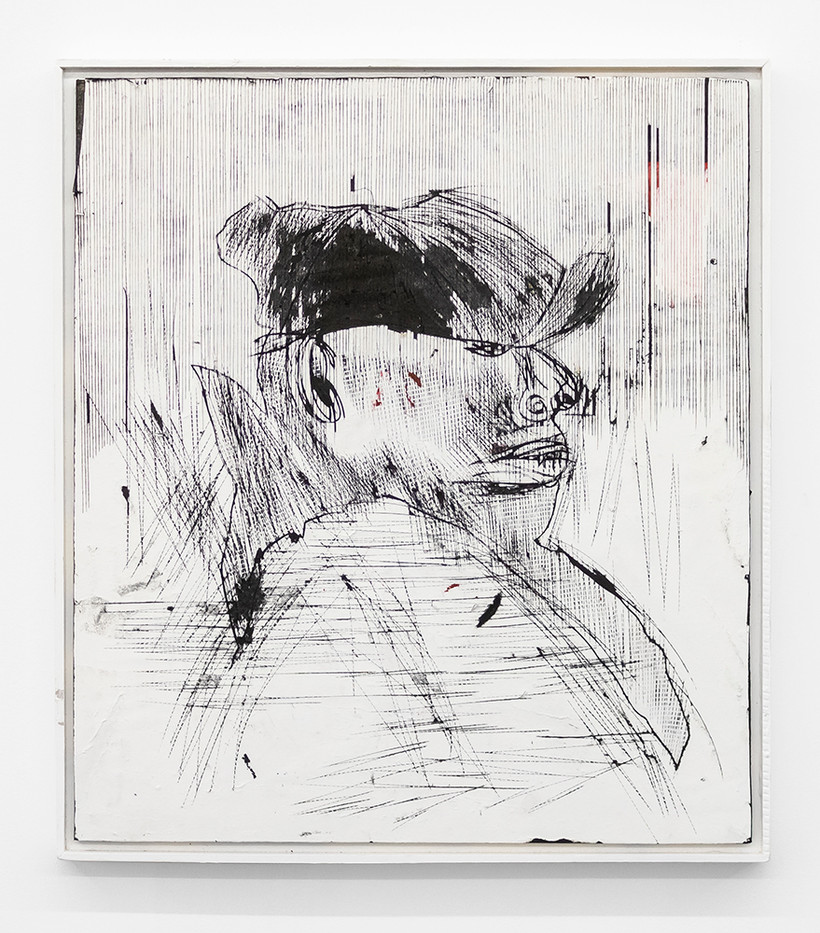 Gareth Nyandoro | Legal hustle I | 2019 | Ink on Paper Mounted on Canvas, Mounted on Wood | 61 x 54 cm