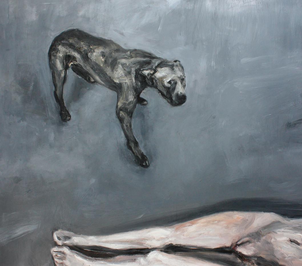 Johann Louw   Hond en Naakfiguur (Dog and Nude)   2012   Oil on Board   122 x 136 cm