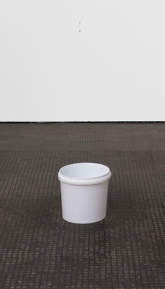 Mitchell Gilbert Messina | Gallery Leak | 2018 | Water Pump, PVC Pipe, Bucket | Dimensions Variable
