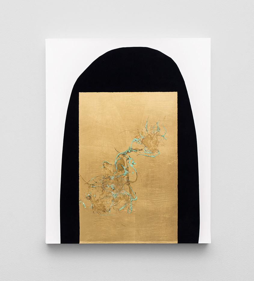 Pierre Vermeulen | Hair orchid sweat print, black shape white | 2020 | Sweat, Gold Leaf Imitate, Shellac and Acrylic on Belgian Linen | 50 x 40 cm