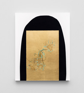 Pierre Vermeulen | Hair orchid sweat print, black shape white | 2020 | Sweat, Gold Leaf Imitate, Shellac and Acrylic on Belgian Linen | 50 x 40 cm