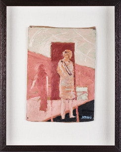 Simon Stone | Pink Figures in front of Pink Rectangle | 2017 | Oil on Board | 30.5 x 21.5 cm