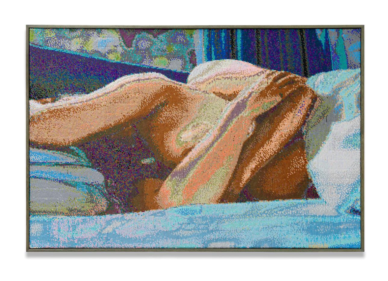 Frances Goodman | Uneventful Days | 2020 | Hand-Stitched Sequins on Canvas | 75.5 x 113 cm