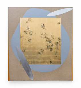 Pierre Vermeulen | Hair orchid Sweat print, blue form with mirror pool | 2019 | Sweat, Gold Leaf Imitate, Shellac and Acrylic on Belgian Linen | 52 x 42 cm
