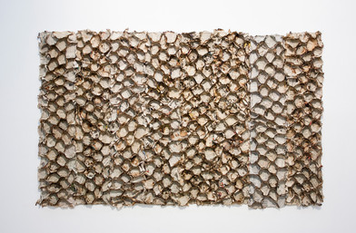 Sandile Zulu   Index   2014   Fire, Air, Earth, Water and Newspaper on Board   86 x 150 cm