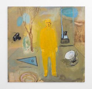 Simon Stone | Yellow Man | 2017 | Oil on Board | 102 x 102 cm
