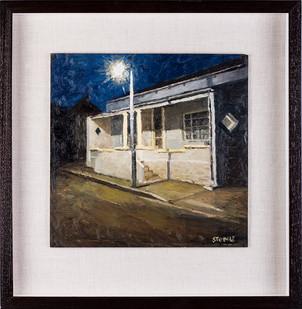 Simon Stone | Karoo House at Night | 2017 | Oil on Cardboard | 31 x 31 cm