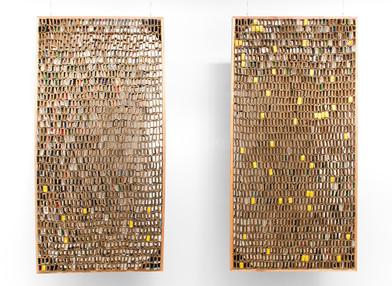 Wallen Mapondera | Kumba Kwababa Vangu (My Fathers House) Diptych | 2016 | Cardboard Box | 180 x 90 cm Each