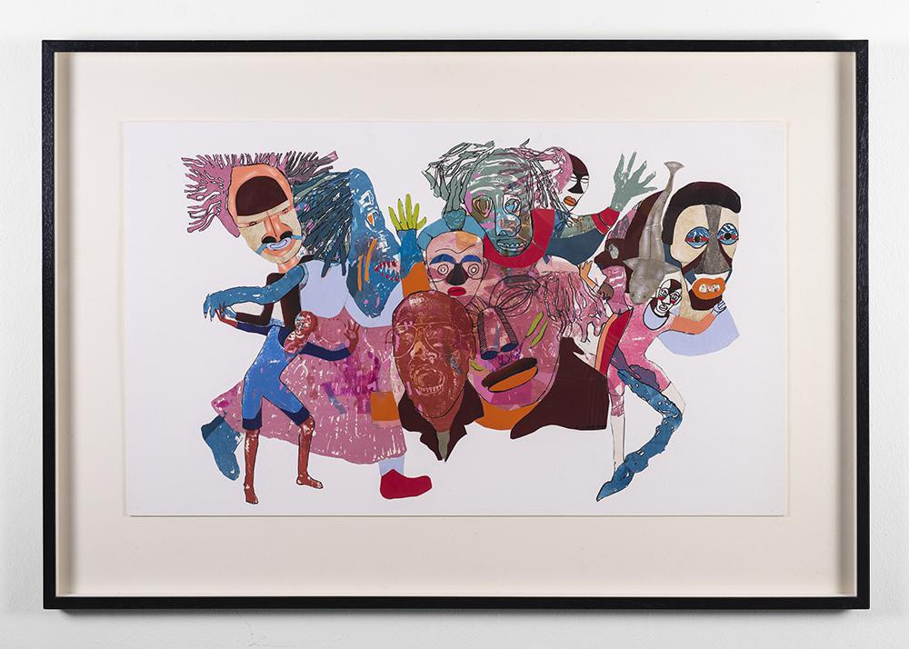 Lionel Davis | Masks 7 (from the Masquerade series) | 2009 | Mixed Media on Paper | 69.5 x 88.5 cm