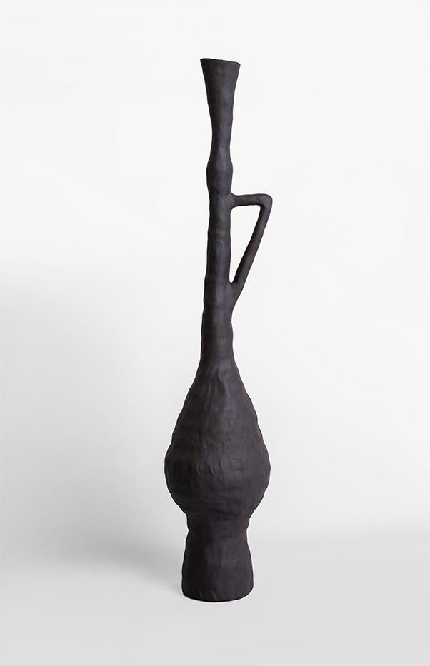 Karlien van Rooyen   Petrol Trumpet   2020   Nude Manganese Stoneware   66.6 x 15 x 15 cm