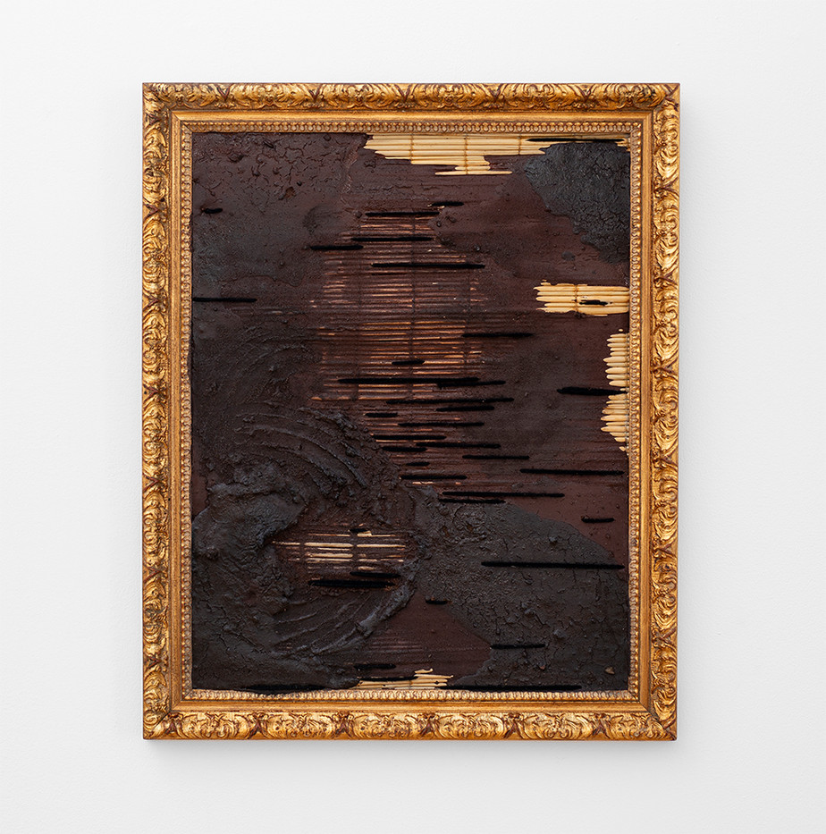 Simphiwe Buthelezi   The Bewilderment of Time   2020   Earth, Oxide, Wool and Gilded Frame   65 x 53 x 3 cm